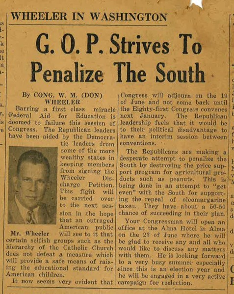 "Democrat William ""Don"" Wheeler discusses sectionalism in a Nashville Herald column, June 17, 1948."