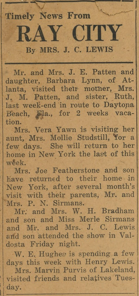 Timely News from Ray City, GA. Nashville Herald, June 17, 1948