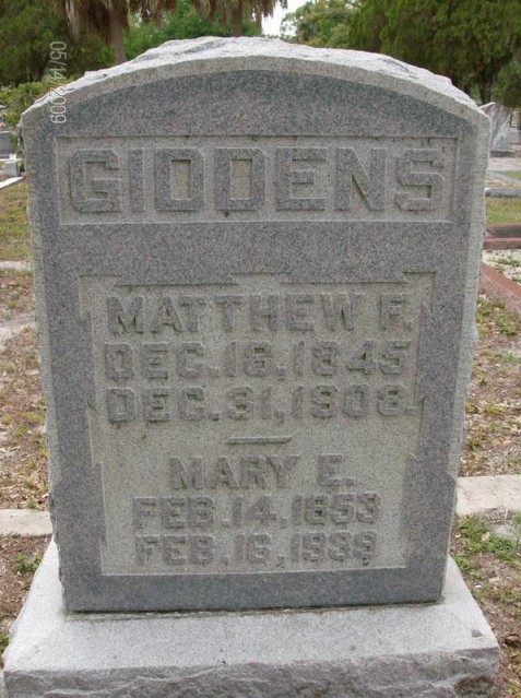 Grave marker of Matthew Franklin Giddens and Mary Elizabeth Knight Giddens. Image source: Lori Humble