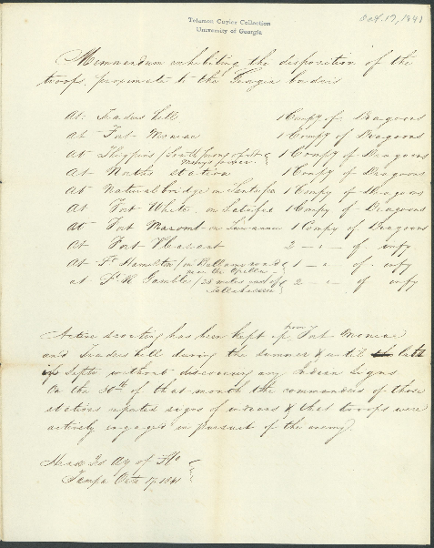 U.S. Army memo on the position of troops defending the Georgia Frontier, October 17, 1841