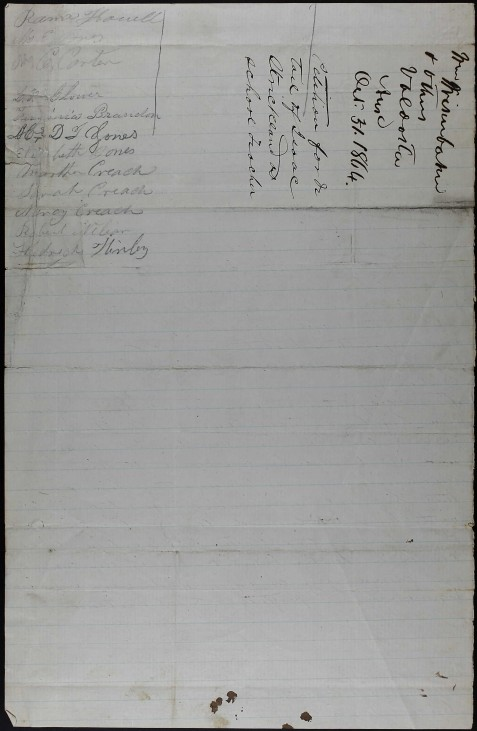 Lowndes County citizens petition to have Isaac Strickland detailed as a teacher in the 662 Georgia Militia District, October 31, 1864.